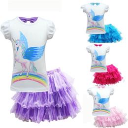 tutus boutique 2019 - 4 Color Baby Girl Unicorn Dress Summer New T-shirt+Tutu Flower Baby Girls fashion Boutique Party Dresses Kids Wedding Dr