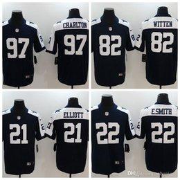 e44a614c4 2018 Mens Dallas  22 Emmitt Smith 21 Ezekiel Elliott 82 Jason Witten 97  Taco Charlton Black White Short sleeve Limited Cowboys Jerseys