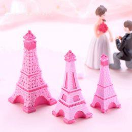 Garden Stones Landscape Australia - Pink Eiffel Tower Resin Craft Miniature Fairy Garden Desktop Room Decoration Micro Landscape Accessory Cactus Planter Gift 4.5cm $