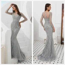 Celebrity Occasions Dresses Australia - Sparkling Long-Sleeved Mermaid Prom Dresses Embroidery Lace Illusion jewel Formal Evening Dress Celebrity Dress Special Occasion Dress