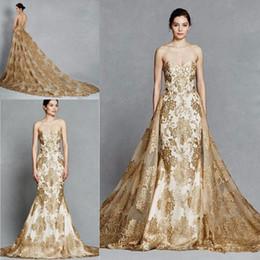 $enCountryForm.capitalKeyWord Australia - Luxury Gold Lace Mermaid Wedding Dresses with Detachable Train 2019 Sweetheart Full Applique Bridal gown Kelly Faetanini