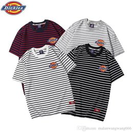 Couple Striped Shirt Australia - Dickies Dijia summer striped short-sleeved men and women couples with the round neck print T-shirt casual loose half-sleeve tide