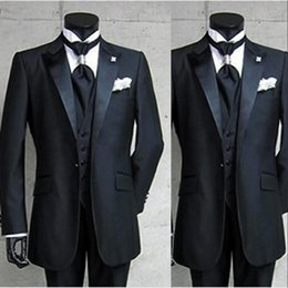 $enCountryForm.capitalKeyWord Australia - Black Groom Tuxedos One Button Peaked Lapel Best man Groomsman Men Wedding Suits Bridegroom (Jacket+Pants+Tie+Vest)