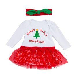 6bb93642c00b Christmas Happy Baby Tutu Skirts 0-24M Newborn Girl Long Sleeve Romper  Dresses 100% Cotton Rompers Cartoon Snowflake skirt+Headband 2PCS Set