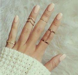 Hollow Fingers Australia - 6pcs Set Boho Knot Leaf Midi Fingers Rings Sets For Women Fashion Retro hollow Knuckle Ring