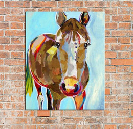 horse paintings wall art NZ - vA. High Quality Handpainted Modern Abstract Animal Art Decorative Horse Oil Painting On Canvas Wall Art Home Office cafe bar Deco a49