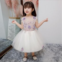 $enCountryForm.capitalKeyWord Australia - 2019 New Glizt Baby Girl Dress White Chiffon Ball Gown Bead Bow Belt Baptism Dress for Girl Infant 1 Year Birthday Christening Gowns