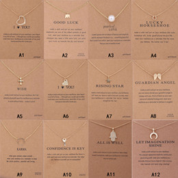 Wholesale New Arrival Dogeared Necklace With Gift card Elephant Pearl Love Wings Cross Key Zodiac sign Compass lotus Pendant For women Fashion Jewelry