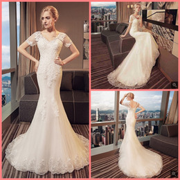 $enCountryForm.capitalKeyWord Australia - Robe de mariage mermaid white lace appliques elegant wedding dress short sleeve modest beaded sequins corset bride dress hot sale 2019