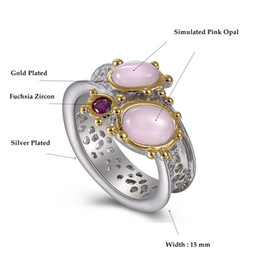 opal set jewellery Australia - Fashion- Fashion ring Oval pink opal stones Luxury Jewellery Silver+Gold 2 Tone plated Pretty Finger rings for women