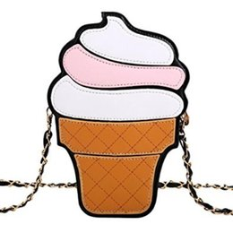 cupcake easter UK - 2020 Ice Cream Bag Fashion 2D Funny Ice Cream Cupcake Handbag Zipper Bag Purse Crossbody Splicing Messenger Body Key Bag