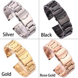 $enCountryForm.capitalKeyWord Australia - Black Stainless Steel Watchbands Bracelet 18mm 20mm 22mm 24mm Solid Metal Watch Band Men Strap Accessories