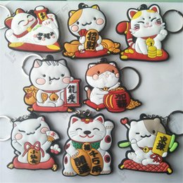 Funny backpacks online shopping - Lucky cat key chain PVC keychain harajuku cute funny novelty cartoon pendant backpack accessories gift toy