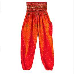 Wide Leg Orange Pants Australia - 30pcs Women Lantern Pants Loose Thin Yoga Sports Ethnic Wide leg pants Thailand Elastic Dancing Loose Fitting Beach Trousers