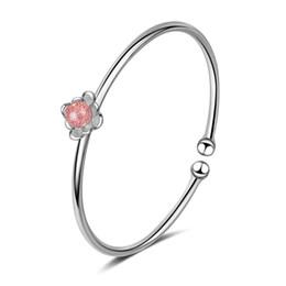 Discount custom bezel wholesale - SL089 Charm Beads Bracelet Silver Pandoa style Bracelets love flower crystal pendant chain Bangle Diy Jewelry with custo