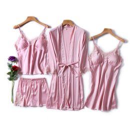 $enCountryForm.capitalKeyWord Australia - 4 Piece Sexy Pajamas Set Women Faux Silk Lace Sling Sleeveless Shirt Shorts Summer Robe Sleepwear With Chest Pads Pyjama Sets T190618