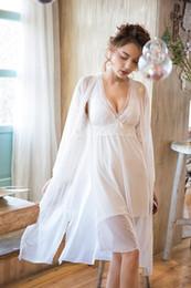 $enCountryForm.capitalKeyWord NZ - 2019 Spring Summer Dressing Gowns for Women White Sexy Kimono Robe Bridesmaid Robes Peignoir Bathrobe Sleepwear Transparent 2pcs