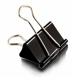 paper file clips UK - Black Metal Binder Clips 15 19 25 32 41 51mm Notes Letter Paper Clip Office Supplies Binding Securing Clip Papelaria