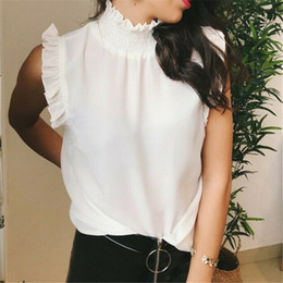 Ruffle high neck blouse online shopping - Fashion Woman Solid Turtleneck Tops Blouses Shirts OL Lady High Neck Sleeveless Ruffles White Tops Plus Size XL