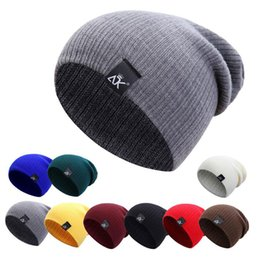 Slouchy Hats For Women Australia - Beanie Hats Cotton For Women Men Skullies Winter Cap Mens Slouchy Winter Hats Beanie Caps Male Warm Knit Skull Cap Bonnet A7986