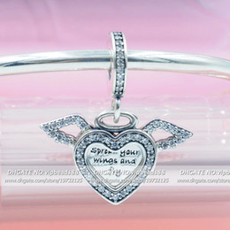 love hearts angels wings Canada - 2019 NEW 925 Sterling Silver Angel Wings Love Pendant Charms Beads Fits European Pandora Jewelry DIY Bracelets Necklaces Pendant