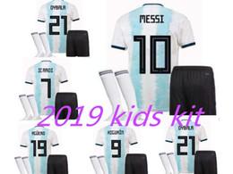 Discount messi soccer socks - 2019 2020 Argentina MESSI soccer jersey kids kit+Socks 19 20 copa america Cup DYBALA HIGUAIN ICARDI Camisetas de futbol
