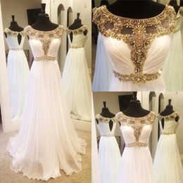 $enCountryForm.capitalKeyWord Australia - Vestidos De Festa Sexy Gold Beaded Crystal Prom Dresses Scoop Cap Sleeves Chiffon Formal Evening Gowns Open Back Long Party Dress Bridesmaid