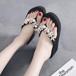 b4d6a4b56 Wholesale Flip Flops Australia - Litthing Women Slippers Flip Flops Summer  Pearl High Heel Bling Beach