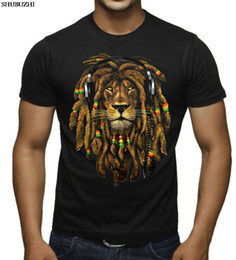 'S Dreadlocks cotone Uomini New Fashion Leone Rasta Dj Black T Shirt Giamaica Blunt Rave T