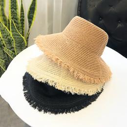 $enCountryForm.capitalKeyWord Canada - 2019 Korea Big Brim Solid Bucket Hats Breathable Knitted Straw Hat Dome Casual Outdoor Caps Summer Sun Protector Cap Collapsible