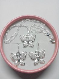 $enCountryForm.capitalKeyWord Australia - 2019 new Fashion plated 925 Sterling Silver Butterfly Pendant Necklaces Earrings Butterfly Jewelry Sets for Women 15 Set lot