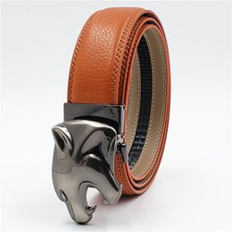 $enCountryForm.capitalKeyWord NZ - Genuine Leather Belt Men Quality Business Style Belt with Leopard Head Automatic Buckle Cowhide Luxury Mens Belts