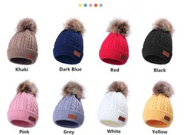 fallen hats Australia - Children's FALL Winter knitted Cotton Hats Warm Comfortable Ski Hat Solid Color Fashion Boy Girl Universal Pompom Caps