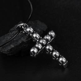 Vintage Jesus Pendant Australia - Vintage skull Bible Cross pendant necklace Stylish titanium stainless steel Jesus Necklace Men's women Xmas gifts New 20pcs lot