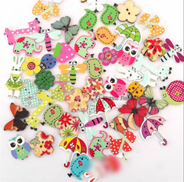 Wholesale mixed buttons clothes for sale - Group buy 50pcs Cartoon Printing Wooden Buttons Hand Printed DIY Jewelry Colorful Mixed Wood Buttons For Hat Shoes Clothes