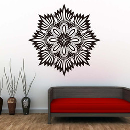 wall stickers yoga Australia - 1 Pcs New Arrival Mandalas Yoga Flower Sign Wall Stickers Vinyl Art Wall Decals Adhesive Wallpaper Living Room Murals Home Decor