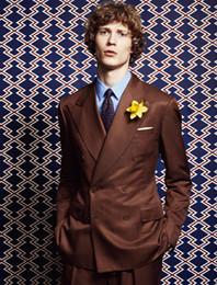 $enCountryForm.capitalKeyWord Australia - Brown Classic custom made men double breasted slim fit suit Blazers gentleman style wedding suits for men Jacket+Pants