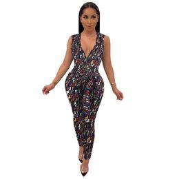 Chinese  Women F Letter Jumpsuits Summer Suspenders Bodysuit Deep V Neck Zipper Vest Pants One-piece Romper Fashion Lady Casual Playsuit Clothes C442 manufacturers