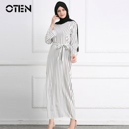 $enCountryForm.capitalKeyWord Australia - Oten Muslim Women Spring Autumn Long Sleeve O Neck Striped Print Fashionable Islamic Abaya Dubai Turkey Prayer Long Maxi Dress MX190727