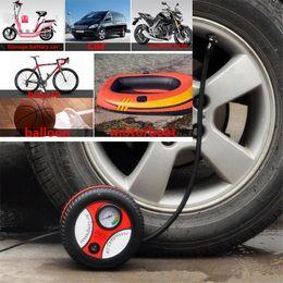 Inflatable Pressure Canada - Car Mini Inflatable Pump Electric Tyre Pressure Monitor Compressor PortablePSI 12V Air Pumping Tire Pumps for Bike Motor Ball