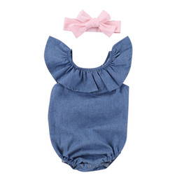 cute clothes UK - Summer Outfits Clothes Toddler Baby Girls Clothing Tops Bodysuit Cute Heanband 2Pcs Jumpsuit Outfits Baby Gir