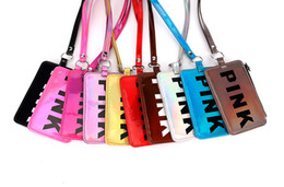Lanyard Zipper UK - 10color Pink Letter Card Slot Holder Zipper with Lanyard Neck Strap Women ID Card Keychain Kids Coin Purses Pouch Cash Pocket Bag