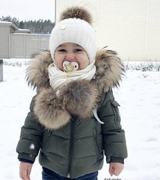 Wholesale army green raccoon fur resale online - new stock Fashion Autumn Winter raccoon fur Jacket For girls Boys Children Jacket Kids Hooded Warm Outerwear Coat For Boy Clothes Year