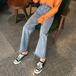 Jeans Hot Sale 2019 New Retro High Waist Wide Leg Jeans Women Spring Fashion Pockets Burr Denim Pants Casual Loose Trousers Women's Clothing