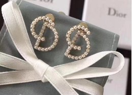 Moon Inlay Australia - Exquisite design letter Earring with box double letter inlay full white pearl fashion popular best gift for lady's don't miss GD0031