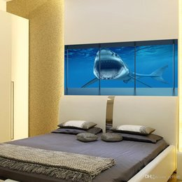 $enCountryForm.capitalKeyWord NZ - Super Large Deep Sea Shark 3D Bedside Wall Sticker PVC Personalized Animal Wall Mural for Bedroom Living Room Home Decor