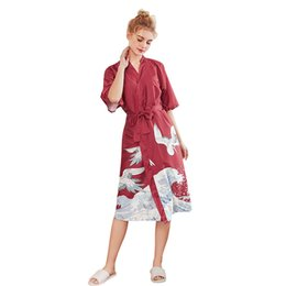 $enCountryForm.capitalKeyWord UK - Daeyar Satin Robe Animal Print Robe Sexy Long Bathrobe Silk Dress Half Sleeve Home Clothes Dressing Gown Elegant Nightwear