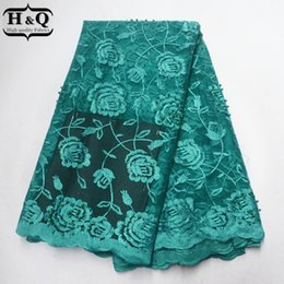 $enCountryForm.capitalKeyWord Australia - Oil Green African Lace Fabric Latest Tulle France Embroider Lace Beads With Stones Nigeria Guipure Lace Fabric For Party Dress