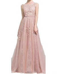 Blush Pink Belt Australia - 2019 Newest Long Prom Dresses A Line Appliques Lace Sleeveless With Belt Blush Pink Formal Evening Gowns Prom Dress Party dress Custom Made