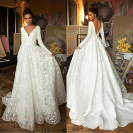 Wholesale sexy boho skirts for sale - Group buy 2020 Sexy Berta Long Sleeves A line Beach Bohemian Wedding Dresses Vintage V Neck Open Back Plus Size Boho Bridal Gown BC2474